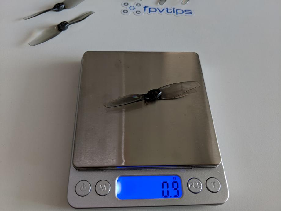 GEPRC Skip3 HD's stock props weigh 0.9grams