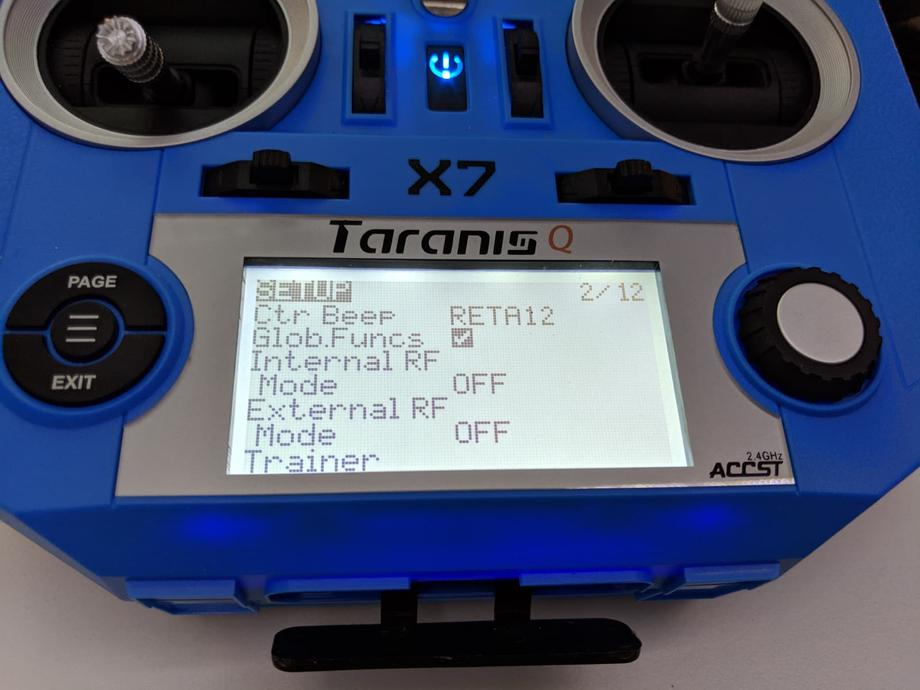 Taranis Q X7 Internal RF mode set to OFF