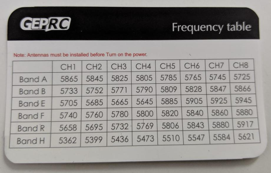 VTX frequency table