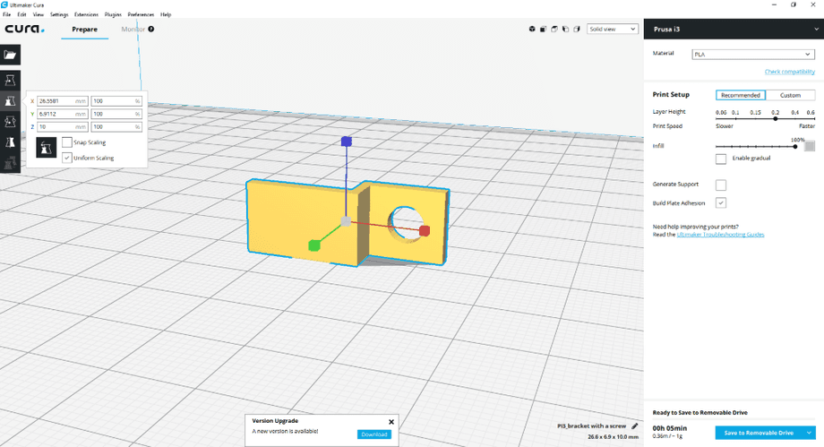 Configuring the 3D print in Cura