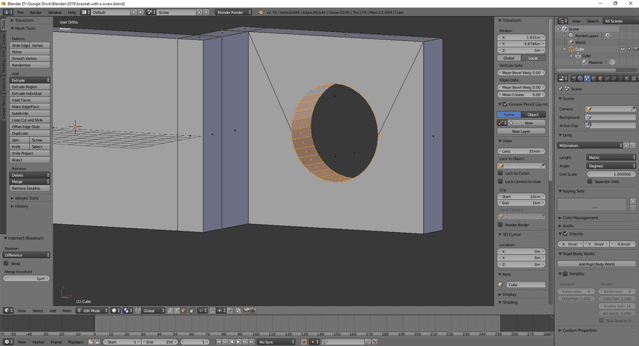3D model in Blender with a circle shaped hole cutout