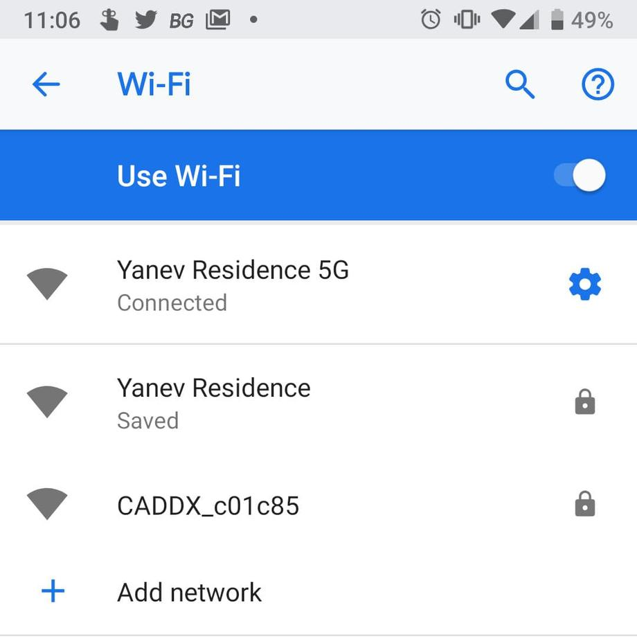 WiFi settings with Caddx wifi network