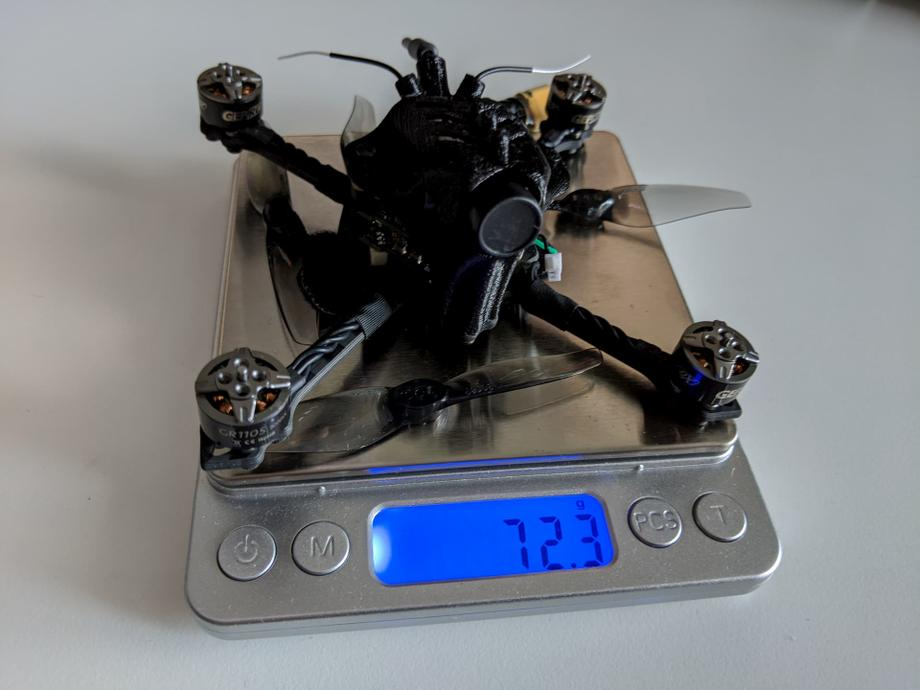 GEPRC Skip3 HD with 4 props weighs 72.3 grams