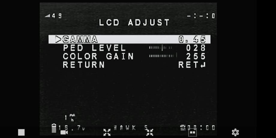Finally under `DISPLAY` adjust the LCD settings