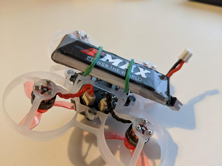 Attach 450mah 1S battery to Mobula6 via rubber band