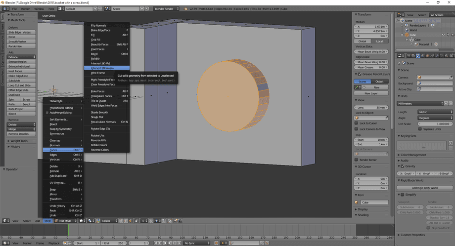 3D model in Blender with a cylinder through