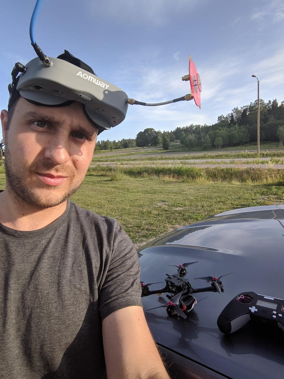 Georgi FPV with goggles on